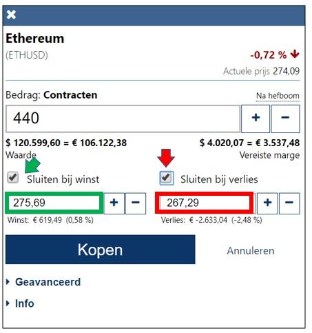 Winst met handelen in Ethereum 2-7-2017 uitleg profit call en stop loss