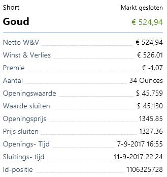 Beleggen in goud - resultaat