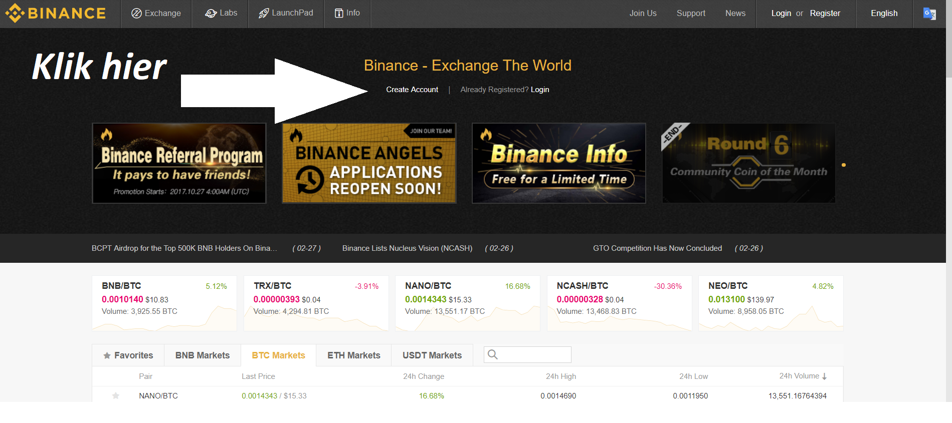 Handleiding Binance - Create account