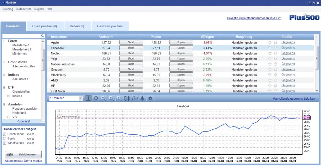 Interface beleggingsprogramma online leren beleggen