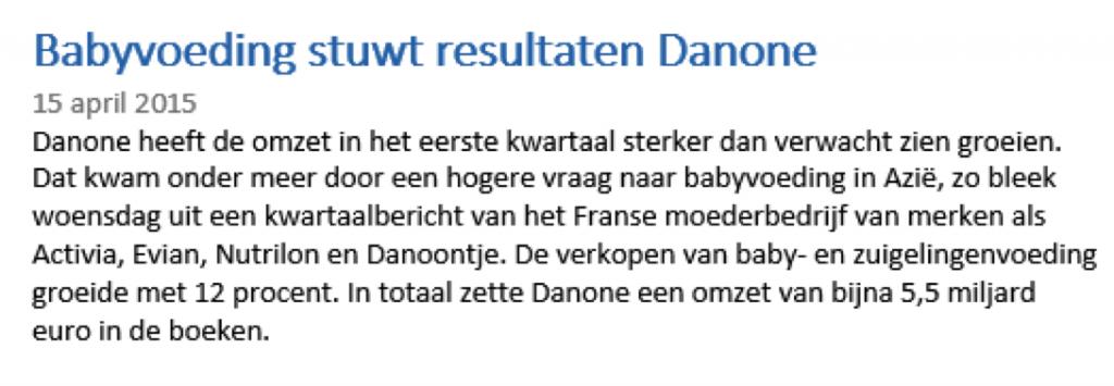 Long gaan met Danone aandelen - nieuwsbericht