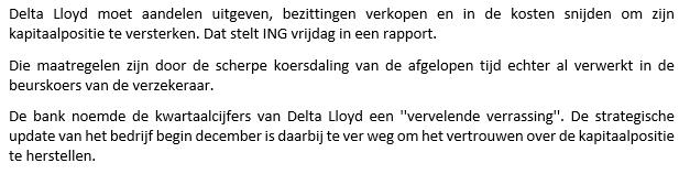 Beleggingservaring met Delta Lloyd - nieuwsbericht