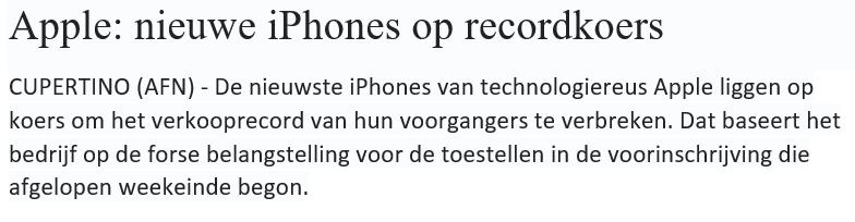 Online beleggen in Apple - Nieuwsbericht